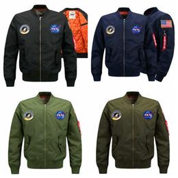 Men Military coat sliM online shopping - Military Style Jackets For Men Bomber Nasa Jacket Windbreak Autumn Winter Coats Warm Outwear Cotton Padded Overcoat LJJA2831