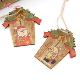 Gift Craft Christmas Ornament Australia - 9PCS Mini House Christmas Wooden Pendants Xmas Tree Ornaments DIY Wood Crafts Wedding Christmas Party Decoration Kids Gift