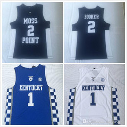 Wholesale moss man for sale – custom Stitched Men Kentucky Wildcats Devin Booker Jersey Moss Point High School basketball jersey