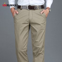 spring business casual NZ - 2020 Summer Men Business Casual 100% Cotton Khaki Pants Man Spring Autumn Black Blue Work Pant Army Green Straight Long Trousers