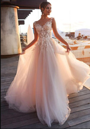 $enCountryForm.capitalKeyWord Australia - Sheer Lace Beach Wedding Dresses with Illusion Bodice Sexy Scoop Neck Sweep Train Beaded Applique Covered Buttons A Line Garden Bridal Gowns