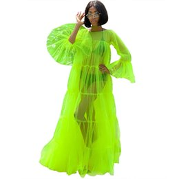 mesh maxi dresses Australia - Crew Neck Fluorescent Green A-line Sheer Mesh Patchwork See Through Tulle Long Bell Long Sleeves Big Pendulum Party Maxi Long Cover Up Dress