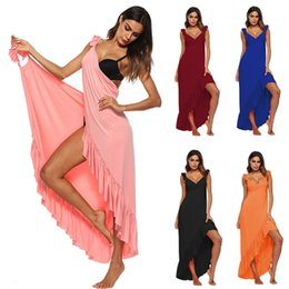 $enCountryForm.capitalKeyWord Canada - Sexy Beach Tunic Wrap Dress Swimwear Cover Up Solid Backless Sleeveless Long Skirt Summer Women Sarong Plage Pareo De Playa A1 Y19042401