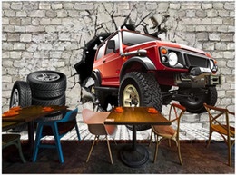 vintage tires Canada - 3d wallpaper custom photo mural on the wall Retro brick wall tire car tooling background home decor 3d wall murals wallpaper for living room