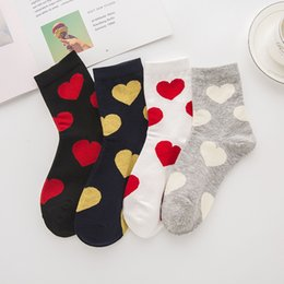 meias das mulheres venda por atacado-New Arrival Women s Cotoon SOCKS Harajuku Style Socks Tide Lovely Heart Middle Tube Collleage Style