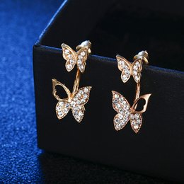 Crystal Stud Metal NZ - Yunkingdom Lovely Cute Butterfly Metal Crystal Stud Earrings for Women Fashion Charms for Jewelry
