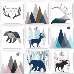 Deer Chair Australia - Deer Bear Stug Animal Geometric Nordic Style Cushion Covers Watercolor Mountain Adventure Soft Pillow Cases 45X45cm Sofa Chair Decoration