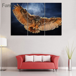 Colorful Bird Paintings Australia - 3 Piece Unframed HD City Silhouette Colorful Bird Canvas Painting Poster Abstract Animal Spray Painting Bedroom Studio Wall Pictures
