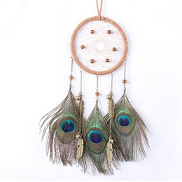 Wholesale Dream Catcher Pendant Bead Chain Peacock Feather Metal Bronze Color Hanging Ornaments Manual Lovers Creative Fashion Gift msD1