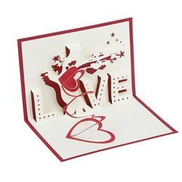 Laser Cutting Gifts UK - Love Heart Greeting Card 3D Pop Up Greeting Postcards Birthday Laser Cut Cards Vintage Marriage Invitation Gift Cards