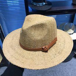 6726edcd666e7 Men Wide Brim Straw Hat Outdoor Fashion Woman Woven Travel Beach Sun Hat  Causal Fedora Panama Hats TTA608