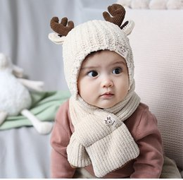 $enCountryForm.capitalKeyWord Australia - Cute Baby Deer Horn Knit Hat+Scarf Set Winter 2019 Kids Boutique Accessories 0-2T Children Warm Earflap Hats