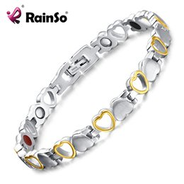 $enCountryForm.capitalKeyWord Australia - Rainso Fashion Healthy Energy Bracelet Hearted design Stainless Steel Health Care Magnetic Gold Bracelet Hand Chain For Women