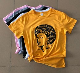 Graphic Tee Ladies Australia - Girl Power Feminist T-Shirt Afro Lady Graphic Casual Tee Inspiring Words Girl Power Slogan Summer Vintage Aesthetic Shirt Tops