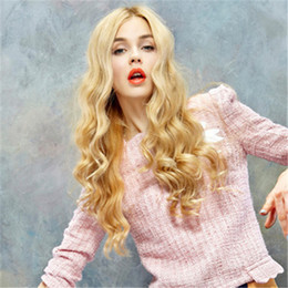 Blonde Long Wavy Human Hair Wigs Australia - HOT Blonde Long Wavy Wave Synthetic Wig Simulation Human Hair Soft Wavy Wigs For Women WW1-06#