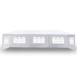 Wholesale 10x30Ft 8 Sides 2 Doors Outdoor Canopy Party Wedding Tent White 3x9m Gazebo Pavilion with Spiral Tubes Hot Item