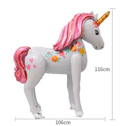 Wholesale Standing Unicorn Balloon Cartoon Tuba Assemble Balloons Aluminum Foil D Stereo Balloon Room Baby Birthday Gifts Home Party hy k1