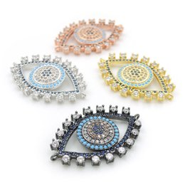 Evil Eye Connector Wholesale NZ - 30*20*3mm Micro Pave Yellow&Kallaite&Blue&Clear CZ Evil Eye Charm Connectors Fit For Men And Women Making Bracelets Jewelry