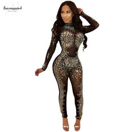 full rhinestone jumpsuit 2019 - Sparkly Rhinestones Sexy Party Jumpsuit Women Mesh Patchwork See Through Bodycon Overall Polyester Elegant Long Sleeve P