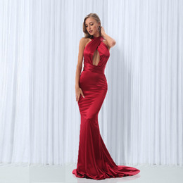 gold maxi dresses NZ - Sexy Backless Shiny Satin Deep V Neck Bodycon Mermaid Party Dress Halter Floor Length Maxi Dress Burgundy Gold Blue Green Black Y19051001