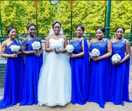 ivory bridesmaid wrap NZ - Royal Blue Chiffon Bridesmaid Dresses One Shoulder African Bride Wedding Party Gowns with Wraps Sequins Maid of Honor Dresses
