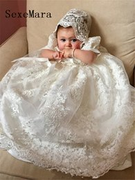 $enCountryForm.capitalKeyWord Australia - New Cute Long Christening Gown For Baby Girls Lace Pealrs Short Sleeve Customized Baptism Dress White Ivory J190506