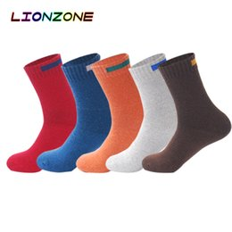 Cashmere Socks Knee Australia - LIONZONE 5Pair Lot Cashmere Wool Socks Men Solid Cloth Sign Design Winter Striped Thick Warm Socks Cotton