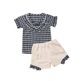 Girls Butterfly Shirt UK - Baby Girls Summer Clothes Set Casual Outfits Toddler Kids Girls Short Sleeve Plaid Top T-shirt+Shorts Children Clothes 1-5Y