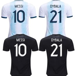 Wholesale 2019 Argentina home away Jersey Argentina MESSI DYBALA DI MARIA AGUERO HIGUAIN soccer shirt home national team Football jersey
