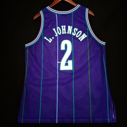 100% Stitched  2 Larry Johnson Purple Sewn Champion Jersey Mens Vest Size XS-6XL  Stitched basketball Jerseys Ncaa 8391cfd77