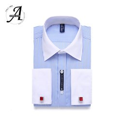 mens long cuff shirts Canada - 9XL 7XL 6XL Striped Men French Cufflinks Casual Dress Shirt Long Sleeved White Collar Design Style Mens French Cuff Dress Shirts V191109