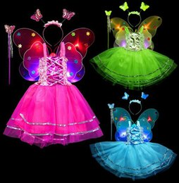 butterfly fairy dresses Australia - Fairy Costume Set 4pcs, LED light up Butterfly Girls Dress Up Princess Dress, Butterfly Wings, Wand and Headband for Children Ages 3-10