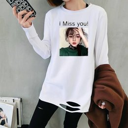 Longer Tops Australia - New Casual Long T-shirts Women O-neck I Miss You Letters Print Female Tees Summer Tops White Short Sleeve