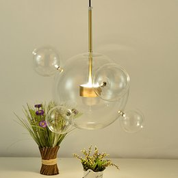 Dining room light glass bubbles online shopping - Designer Glass Bubble Ball Pendant Light Modern Ceiling Hanging Droplight Lamp Bar Living Room Clear Glass LED Lighting Fixture