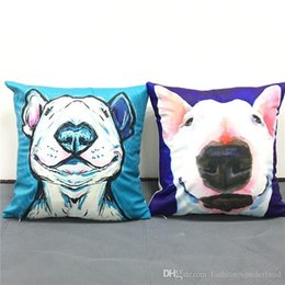 pink decorative paintings UK - Bull Terrier Dog Smile Cushion Cover Oil Painting Pet Soft Pillow Covers 40X40cm Modern Decorative Soft Pillow Case Chair Decor