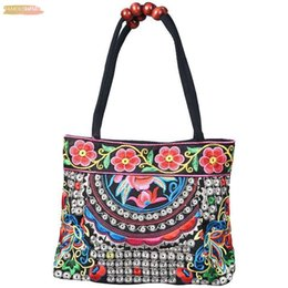 chinese ladies handbags UK - Chinese Style Women Handbag Embroidery Ethnic Summer Fashion Pu Handmade Flowers Ladies Tote Shoulder Bags Cross Body