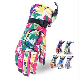Discount hot normal women - Women printed colorful Winter outdoor Gloves Cycling Ski Snowboard Snow Thermal Waterproof Glove Hot warm pocket golves