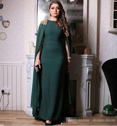 $enCountryForm.capitalKeyWord NZ - Hunter Green Evening Dresses with Long Cape 2019 Jewel Neck Gold Lace Plus Size Arabic Saudi Occasion Party Gowns Prom Dress