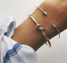 silver knot cuff bracelet NZ - Vintage Cuff Bracelet Bangles for Women Brief Gold Color Open Arrow Knotted Charms Bracelet Jewelry valentines Gift ns54