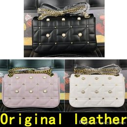 decoration pearls bag Canada - Pearl Decoration Marmont Bag Handbags High Quality s Designer Handbags Cowhide Genuine Leather Come With Box
