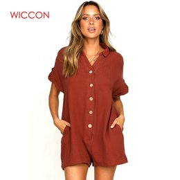 $enCountryForm.capitalKeyWord Australia - 2019 Summer Wear Button Casual Women Playsuits Solid Beach High Fashion Playsuit Rompers Loose Short Jumpsuit Romper