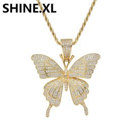 Wholesale Iced Out Butterfly Statement Necklaces Pendants Woman Chokers Rope Chain Tennis Chain K Yellow Gold Filled Chunky Jewelry