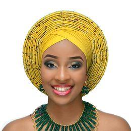 AfricAn gold heAdtie online shopping - 2018 Aso oke nigerian gele headtie  already made auto hele c3c2212b83f