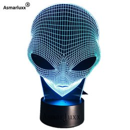 alien lamps UK - Alien Head 3d Hologram Illusion Unique Acrylic Night Light With Touch Switch Luminaria Lava Lamp 7colors Changing Deco Gift Q190611
