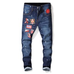 Wholesale New Flag Patches Ink Printing Full Length Jeans Men Skinny Casual Cotton Ripped Denim For Men Straight Slim Fit Biker Jeans