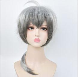 $enCountryForm.capitalKeyWord NZ - Anime tomorrow Ark COS silver gray cliff heart short hair early snow gray gradient color ball party carnival Halloween cosplay wig