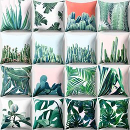 Tropical cushions online shopping - Eco Friendly Pillow Case Christmas Decorations For Home Tropical Rain Forest Green Leaves Cactus Cushion Covers