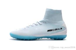 Cr7 Ronaldo Boots Australia - Original White Blue CR7 Flat Soccer Cleats Mercurial Superfly V TF IC SX Indoor Kid Soccer Shoes Cristiano Ronaldo Football Boots