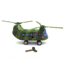 $enCountryForm.capitalKeyWord Australia - [Funny] Adult Collection Retro Wind up toy Metal Tin Twin-screw military helicopter transport plane Clockwork toy vintage toy