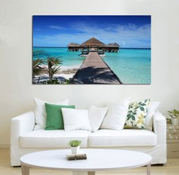 Poster Frame Wholesale Australia - beautiful maldives beach nature seascape living room decor home wall art decor wood frame fabric poster KG863